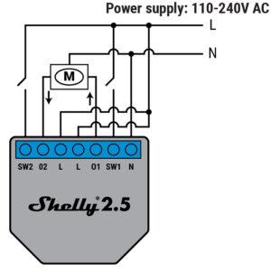 Shelly 2.5 variklio pajungimo schema