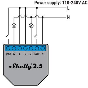 Shelly 2.5 šviestuvų pajungimo schema