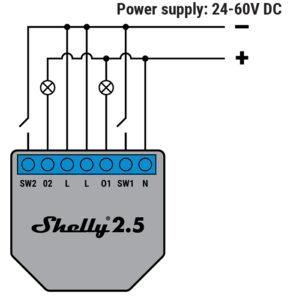 Shelly 2.5 pajungimo schema DC